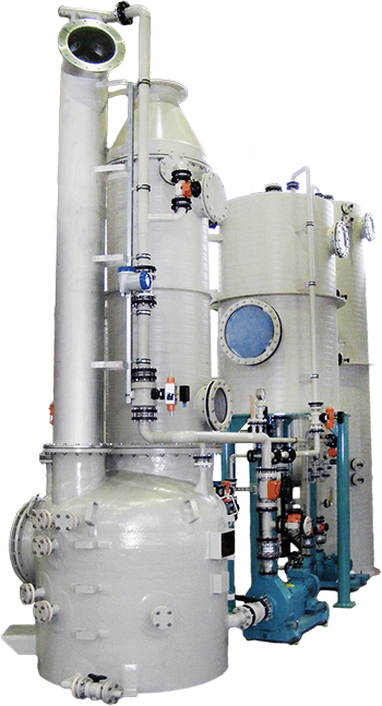 Jet scrubber, off-gas purification, cooling, conveying, air cleaning