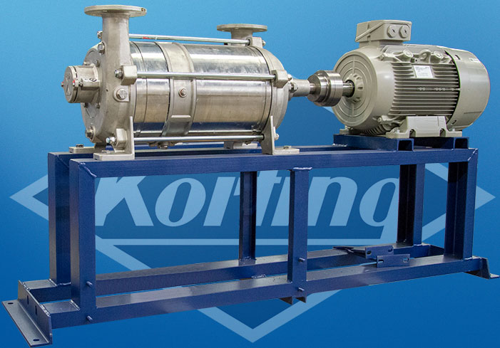 Liquid ring vacuum pump in once through operation