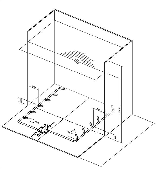 Modell eines Körting Tankmischsystems in einem quadratischen Tank